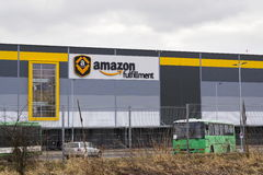 Online retailer company Amazon fulfillment logistics building on March 12, 2017 in Dobroviz, Czech republic. DOBROVIZ, CZECH REPUBLIC - MARCH 12: Online retailer Stock Images