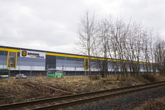 Online retailer company Amazon fulfillment logistics building on March 12, 2017 in Dobroviz, Czech republic Stock Photos