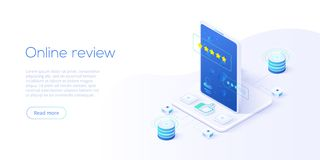 Online review concept in isometric vector illustration. Customer survey or reputation rating via mobile internet on smartphone. User feedback service on stock illustration