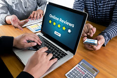 Online Reviews Evaluation time for review  Inspection Assessment Stock Photography