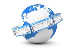 Online rezerwaci pojęcie. Lotniczy bilety wokoło Ziemskiej kuli ziemskiej Fotografia Royalty Free