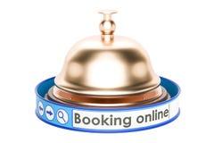 Online rezerwaci pojęcie z recepcyjnym dzwonem, 3D rendering Obrazy Stock