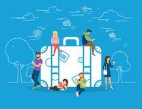 Online rezerwacja hotel i bileta pojęcia ilustracja royalty ilustracja