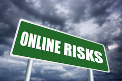 Online risks. Sign, road banner Stock Images