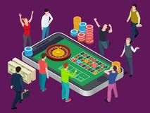 Online roulette table and people. Casino isometric vector concept royalty free illustration