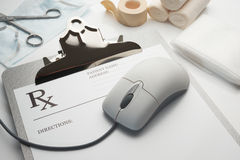 Online rx prescription concept clipboard Royalty Free Stock Images
