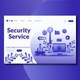 Online-säkerhetstjänster för säkerhetsservice som landar mallen för sidawebsitevektor stock illustrationer