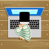 Online salary or compensation cash banknote Royalty Free Stock Image
