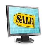 Online Sale. Computer monitor with sale tag on screen Royalty Free Stock Images
