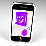 Online Sale Bag Displays Internet Sales and Discounts Royalty Free Stock Images