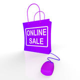 Online Sale Bag Represents Internet Sales and Discounts Royalty Free Stock Photo