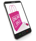 Online Sale Bag Shows Selling and Buying on the Internet Royalty Free Stock Photos