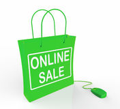 Online Sale Bag Shows Selling and Buying Royalty Free Stock Photos