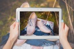 Online sale, buy shoes online Stock Image
