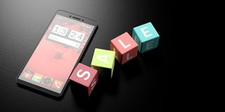Online sale. Cubes with word sale on them and a smartphone on a black background, banner, copy space. 3d illustration. Online sale and smartphone. Colorful cubes Royalty Free Stock Image