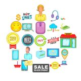 Online sale icons set, cartoon style. Online sale icons set. Cartoon set of 25 online sale vector icons for web isolated on white background Royalty Free Stock Photos