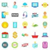 Online sale icons set, cartoon style Stock Image