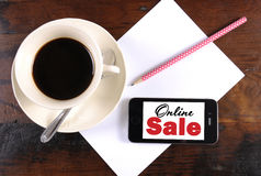 Online Sale message on phone device Royalty Free Stock Photos