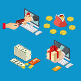 Online sale payment method delivery e-commerce con Royalty Free Stock Photography