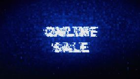 Online Sale Text Digital Noise Twitch Glitch Distortion Effect Error Animation. royalty free illustration