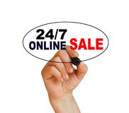 Online sale. Writing  words ' 24/7 Online sale '  on white  background made in 2d software Royalty Free Stock Photo