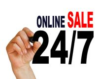 Online sale 1. Writing  words ' 24/7 Online sale '  on white  background made in 2d software Stock Photo