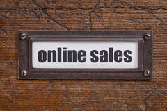 Online sales - file cabinet tag Stock Images