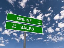 Online sales. Green sign with white letters saying online sales, with blue sky and clouds as background Stock Images