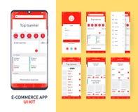 Online-sats f?r e-kommers app UI f?r svars- mobil app med den olika GUI-orienteringen inklusive inloggningen, huvudsaklig sida, k royaltyfri illustrationer