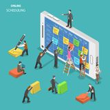 Online schedule flat isometric vector concept. People are filling a schedule on smartphone screen using colorful stickers and a pen Royalty Free Stock Images