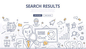Online Search Doodle Concept. Doodle design style concept of search engine results optimization, SEO technology, user web search experience, website ranking Stock Photography