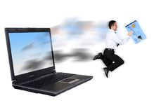 Online security - businessman stealing a credit card Stock Photography