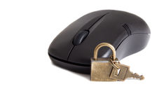 Online security. Computer mouse and small padlock as a concept of online security Stock Photography