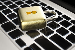 Online security concept with golden padlock Stock Image