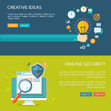 Online security and creative ideas flat baners set Royalty Free Stock Photo