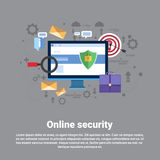 Online Security Data Protection Web Technology Banner. Flat Vector Illustration Royalty Free Stock Photo