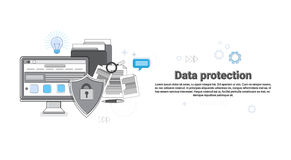 Online Security Data Protection Web Technology Banner. Vector Illustration Royalty Free Stock Photo