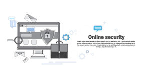 Online Security Data Protection Web Technology Banner. Vector Illustration Royalty Free Stock Photography