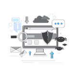 Online Security Data Protection Web Technology Thin Line. Vector Illustration Royalty Free Stock Image