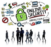 Online Security Protection Internet Safety Business Commuter. Concept stock images