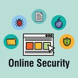 Online security set icons. Vector illustration design Stock Photos