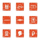 Online seek icons set, grunge style. Online seek icons set. Grunge set of 9 online seek vector icons for web isolated on white background Stock Images