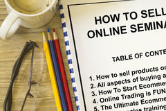 Online selling and buying. Workshop seminar - with contents of seminar Stock Photography