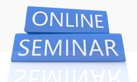 Online Seminar. 3d render blue box with text Online Seminar on it on white background with reflection Stock Photography