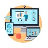 Online Seminar. Distance Work. Webinar. Vector Stock Image