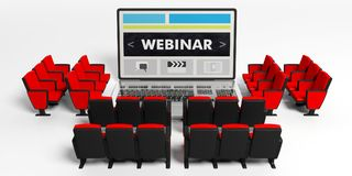 Webinar concept. Armchairs around a laptop, webinar on the screen, white background. 3d illustration. Online seminars concept. Chairs around a laptop, webinar on Stock Images