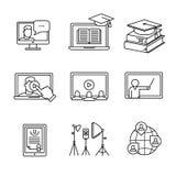 Online seminaryjne ikony cienieją kreskowej sztuki set Fotografia Royalty Free