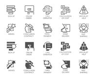 Online service buttons in line and glyph designs. Call operator, home delivery, specialist, cost calculation icons. Set of online service buttons. 10 icons in vector illustration