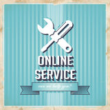 Online Service Concept on Blue in Flat Design. Stock Image