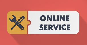 Online Service Concept in Flat Design. Royalty Free Stock Photography